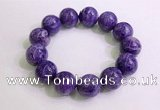 CGB2557 7.5 inches 18mm round charoite gemstone beaded bracelets