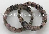 CGB3273 7.5 inches 10*15mm faceted marquise rhodonite bracelets