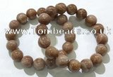 CGB4068 7.5 inches 13mm round sunstone beaded bracelets