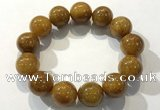 CGB4090 7.5 inches 18mm round golden rutilated quartz beaded bracelets