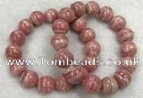 CGB4126 7.5 inches 13mm - 14mm round rhodochrosite beaded bracelets