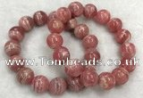 CGB4130 7.5 inches 13.5mm - 14mm round rhodochrosite beaded bracelets