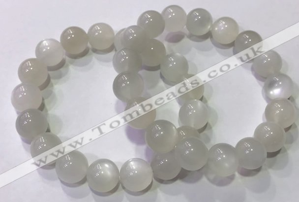 CGB4518 7.5 inches 12mm round white moonstone beaded bracelets