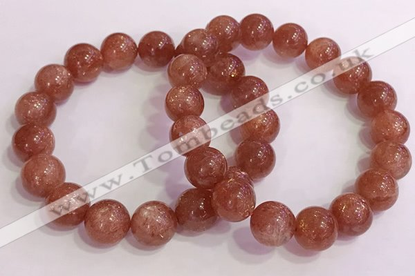 CGB4545 7.5 inches 12mm round golden sunstone beaded bracelets