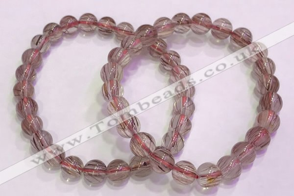 CGB4637 7mm - 8mm round red rutilated quartz beaded bracelets