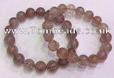 CGB4639 12mm round red rutilated quartz beaded bracelets