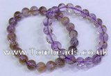 CGB4667 8mm round purple phantom quartz beaded bracelets