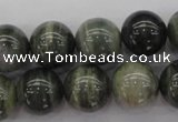 CGH06 15.5 inches 14mm round green hair stone beads wholesale