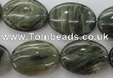 CGH47 15.5 inches 18*25mm oval green hair stone beads wholesale