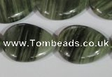 CGH57 15.5 inches 22*30mm flat teardrop green hair stone beads