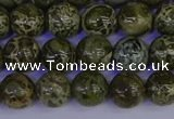CGJ352 15.5 inches 8mm round green bee jasper beads wholesale