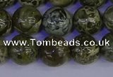 CGJ354 15.5 inches 12mm round green bee jasper beads wholesale