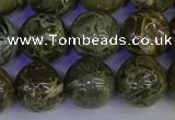 CGJ355 15.5 inches 14mm round green bee jasper beads wholesale