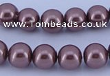 CGL122 10PCS 16 inches 4mm round dyed glass pearl beads wholesale