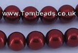 CGL324 10PCS 16 inches 8mm round dyed glass pearl beads wholesale