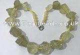 CGN142 19.5 inches 10*14mm - 20*30mm nuggets lemon quartz necklaces