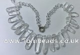 CGN185 23 inches 8*20mm - 11*60mm white crystal stick necklaces