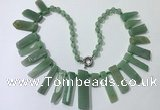 CGN194 23 inches 8*20mm - 11*60mm green aventurine stick necklaces