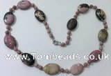 CGN202 22 inches 6mm round & 18*25mm oval rhodonite necklaces