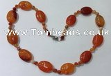 CGN218 22 inches 6mm round & 18*25mm oval agate necklaces
