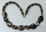 CGN271 18.5 inches 8mm round & 18*25mm oval agate beaded necklaces