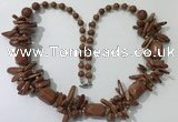 CGN304 27.5 inches chinese crystal & goldstone beaded necklaces