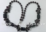 CGN315 27.5 inches chinese crystal,garnet & black agate beaded necklaces