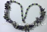CGN387 23 inches chinese crystal & mixed quartz beaded necklaces