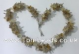 CGN402 19.5 inches chinese crystal & citrine chips beaded necklaces
