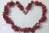 CGN419 19.5 inches chinese crystal & coral chips beaded necklaces