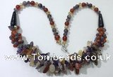 CGN461 22 inches chinese crystal & mixed gemstone beaded necklaces
