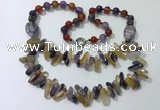 CGN519 23.5 inches chinese crystal & mixed gemstone beaded necklaces
