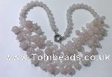 CGN555 19.5 inches stylish 4mm - 12mm rose quartz beaded necklaces