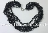 CGN738 19.5 inches stylish 6 rows black agate chips necklaces