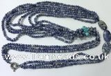 CGN848 30 inches trendy blue spot stone long beaded necklaces