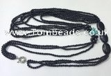 CGN849 30 inches trendy blue goldstone long beaded necklaces