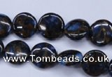 CGO200 15.5 inches 12mm flat round gold blue color stone beads