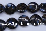CGO201 15.5 inches 14mm flat round gold blue color stone beads