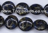 CGO202 15.5 inches 16mm flat round gold blue color stone beads