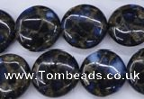 CGO203 15.5 inches 18mm flat round gold blue color stone beads