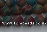 CGO267 15.5 inches 8mm round matte gold multi-color stone beads
