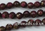 CGO64 15.5 inches 10mm faceted round gold red color stone beads