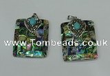 CGP307 30*40mm rectangle abalone shell pendants wholesale