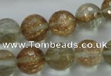 CGQ27 15.5 inches 14mm faceted round gold sand quartz beads
