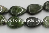 CGR09 16 inches 13*18mm flat teardrop green rain forest stone beads