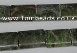 CGR36 15.5 inches 13*18mm flat tube green rain forest stone beads