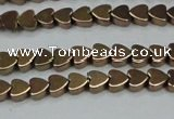 CHE1001 15.5 inches 6*6mm heart plated hematite beads wholesale