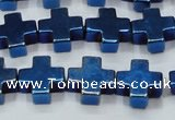 CHE1012 15.5 inches 10*10mm cross plated hematite beads wholesale