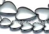 CHE16 16 inches 16mm & 25mm heart shape hematite beads Wholesale