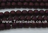 CHE724 15.5 inches 4mm round matte plated hematite beads wholesale